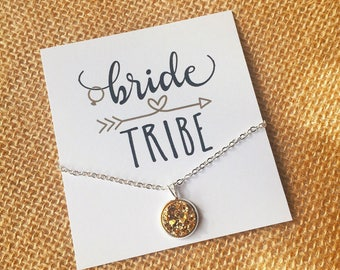 Bridesmaid Gift - Gold Druzy Necklace