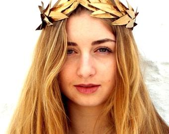 Gold leaf Crown, Gold Headband, Woodland Headpiece,  Greek Goddess, Flower crown, Gold Crown, Hair Wreath, Gold Leaves