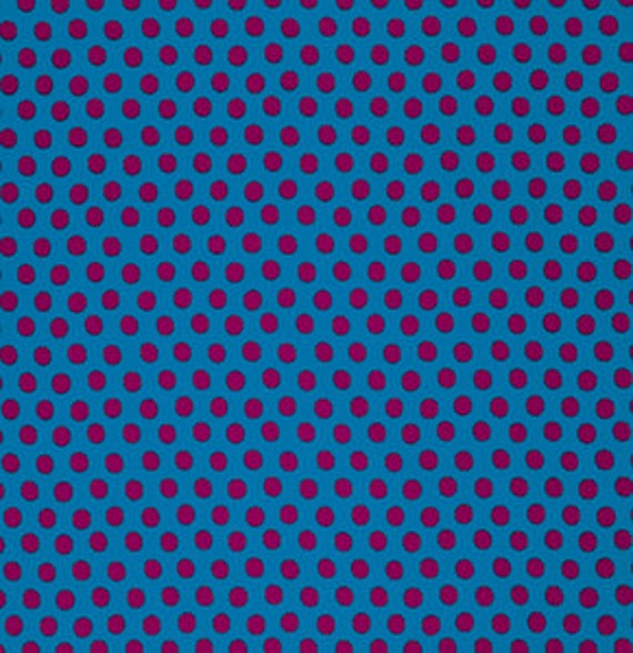 SPOT PEACOCK Blue with Maroon spots GP070 by Kaffe Fassett  Sold in 1/2 yd increments