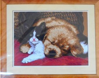 Needlepoint tapestry kit, sleeping DOG & CAT, 30 x 40 cm, AR424