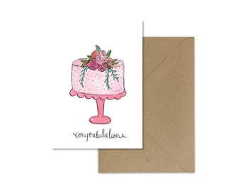 Congratulations Card//Wedding Card//Cake Card//Greeting Card//Wedding Cake//Wedding Cake Card//Flower Cake Card//Pink Cake//Pink Cake Card