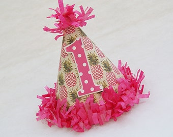 BACK IN STOCK!  Glam Pineapple and Polka Dot Birthday Party Hat - pineapple party, party like a pineapple, summer party, pool party