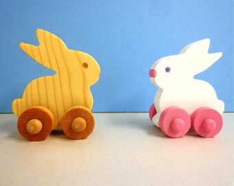 Wood Toy Bunny, Easter Gift for Kids, Wooden Toy Bunny, Push Toy Bunny Kids Easter Basket Filler Toy, Kids Toy, Kids Easter Toy Bunny