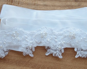 White Wedding Belt, Bridal Belt, Sash Belt, White Belt, Bridal Sash