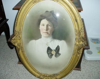 Antique Large Oval Frame with Convex/Bubble Glass/Old Portrait