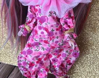 Blythe Doll Clown Circus Pink Floral Onesie romper by Maker and Muse