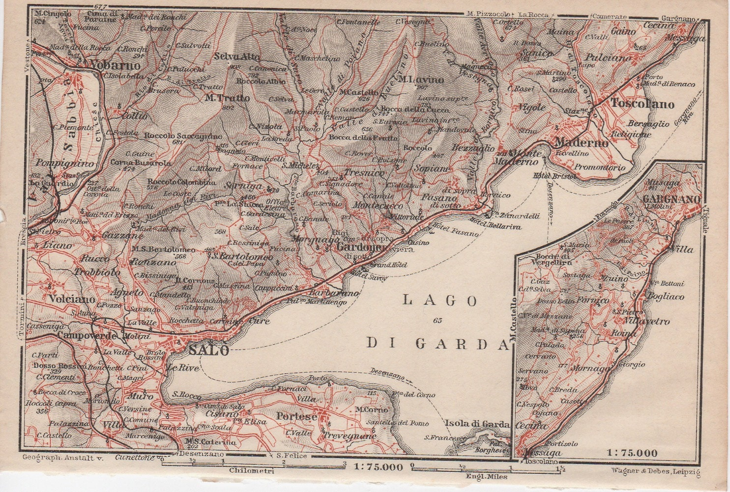 1928 Sal Garda Lake Italy Antique Map Lithograph Brescia