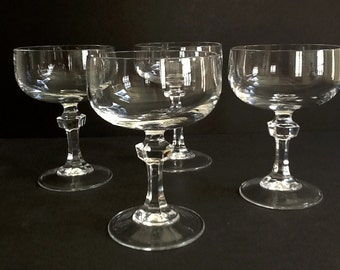 Mid Century Crystal Coupe Champagne Glasses, Set of 4, 6 Fluid Ounces, Faceted Stems, Crystal Stemware