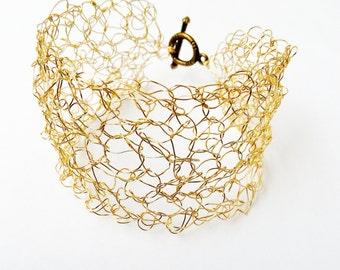 Gold Bridal Cuff - Wire Crochet Cuff- Wire Net Bracelet- Gold Bridesmaid Bracelet- Alternative Wedding - Boho Wedding