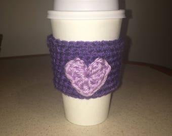 Purple heart Coffee cozy