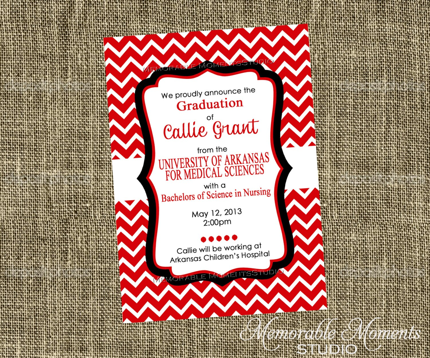 PRINTABLE INVITATIONS Red White and Black Chevron Party