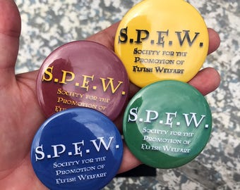 SPEW Harry Potter House Pinback Button - Gryffindor, Slytherin, Ravenclaw, Hufflepuff