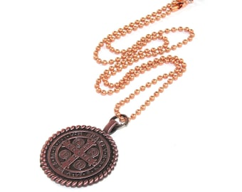 Saint Benedict Medal, Copper Pendant, Patron Saint Necklace