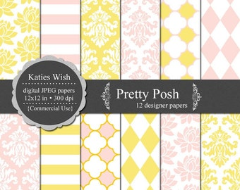 Pretty Posh Digital Paper Kit  Instant Download Commercial Use kit