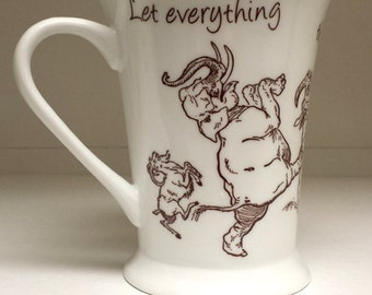 Coffee Mug Cup Cute Praise the Lord Bible Quote Animals Porcelain China Poem Hand Made Spiritual Scripture Gift