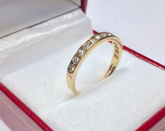 Diamond 0.50CT Wedding Band l 14KT Yellow Gold Diamond Ring l Stackable Ring l Anniversary Ring l Engagement Ring