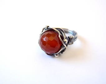 Red Agate Ring ~ Size R / 8.5 ~ Handmade Recycled Sterling Silver Orbit Ring ~ Faceted Orange-Red Stone ~ Artisan WireWrap Oxidised Antiqued