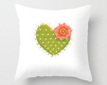 14 x 14 Coral Pink Cactus Pillow Cover, Decorative Pillow Case, Pillow Sham, Cactus Home Decor, Southwestern Pillow Cover, Floral Decor