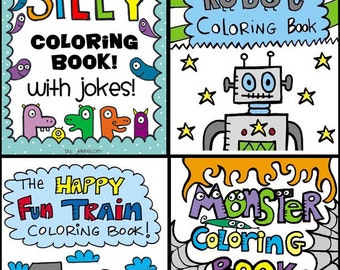 SET of 4 Printable Digital PDF Coloring Books - Jokes, Kids, Train, Monsters, Robots