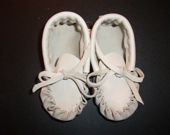 1284- Baby Moccasins Size Medium Deer Hide Leather