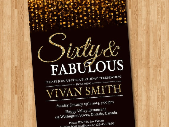 60th birthday invitation women Sixty and fabulous Gold