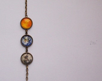 Solar System Bracelet, Sun, Moon, Earth, Universe Bracelet, Space Jewelry, Planet Bracelet, Astronomical Jewelry, Gift For Her