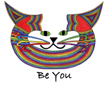 Cat Art Cards- Gay Pride- Be You- by beckyzimm