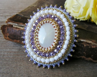 White Purple Brooch Bead embroidery Brooch Beaded brooch Beadwork Brooch White Cabochon Brooch Mother of Pearl Brooch MADE TO ORDER