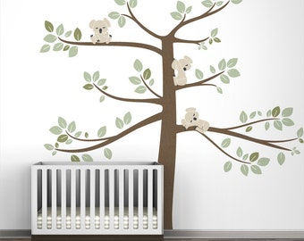 Kids wall decal large tree green koala wall decal decor for baby room - Koala Tree Extra Large