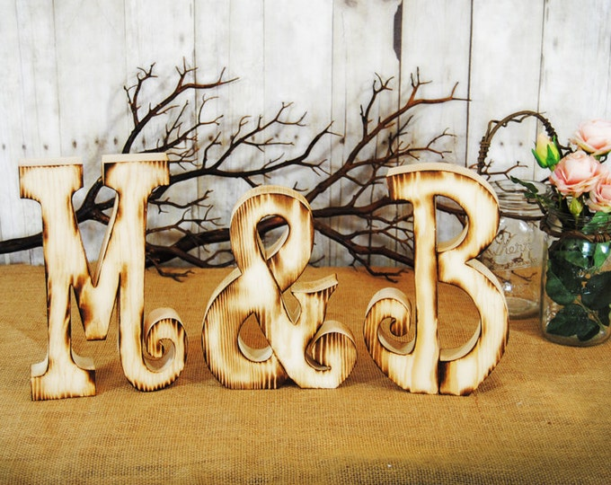 Wooden Guest Book Letter Alternative with Twig Style Pen - Any letter available- SET of Two Letters with & sign