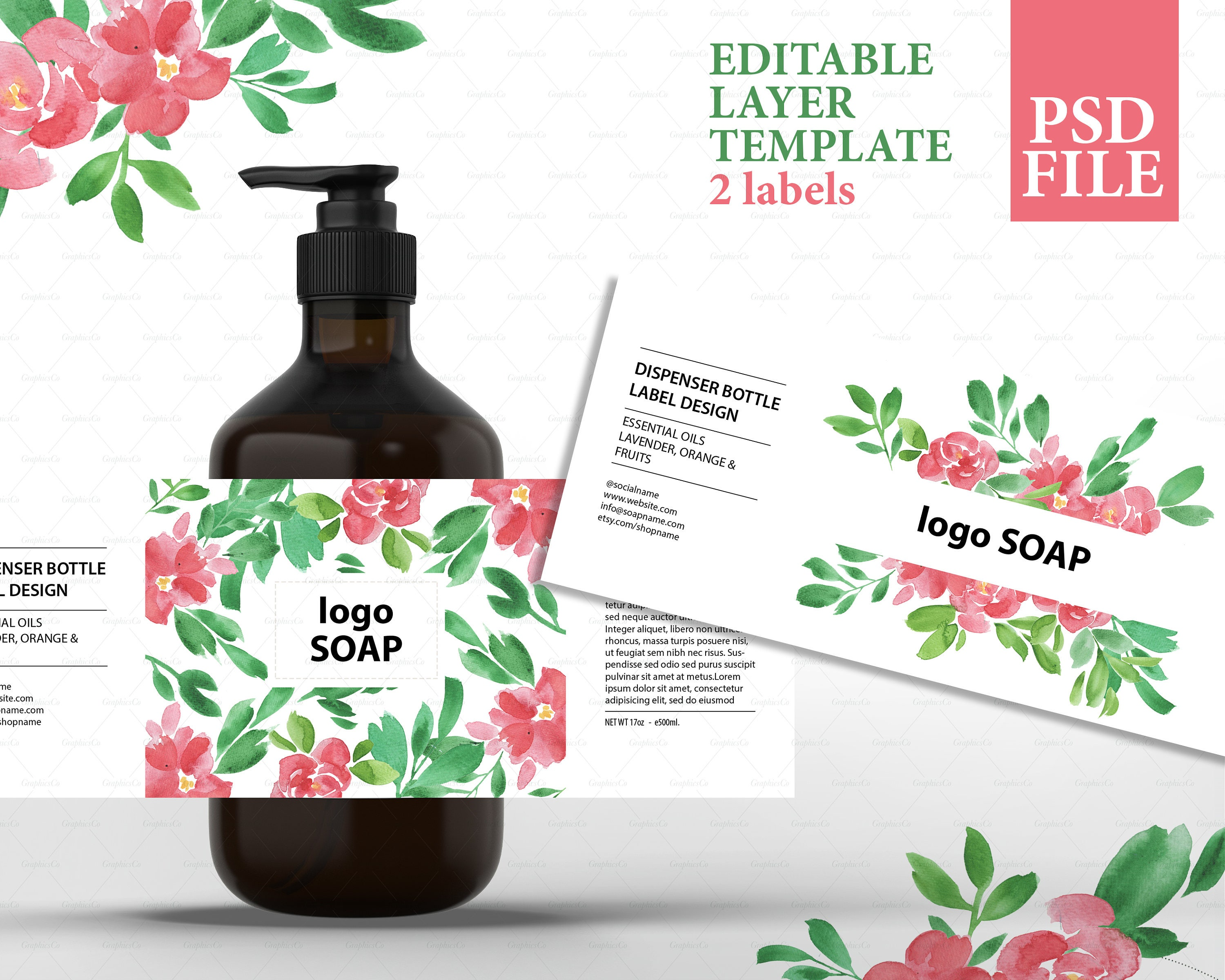 Soap label design cosmetic label template product packaging