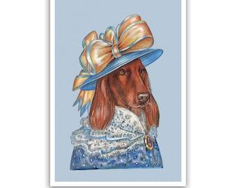 Irish Setter Art Print - Lady Golden Bow - Dog Gifts, Wall Decor - Pet Portraits by Maria Pishvanova