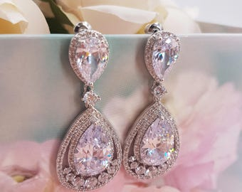 Bridal Drop Earrings, Pear Cubic Zirconia, dangle earrings, CZ Studs Earrings, wedding earrings, bridal earrings, crystal drop shape, RAINA