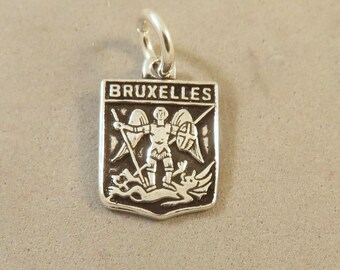 BRUXELLES .925 Sterling Silver Charm Pendant Brussels Belgium Europe Travel Shield Coat of Arms Crest Places New tr107