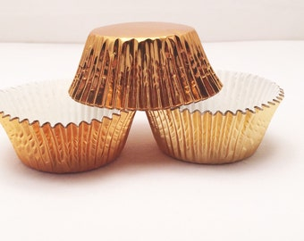 48 Gold Foil MINI Size Cupcake Liners Baking Cups
