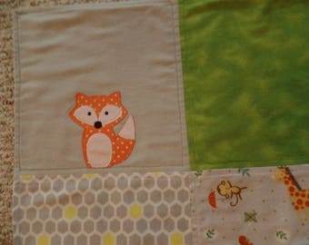 Baby Blanket with fox & owl, crib/receiving double-layer flannet, so cuts