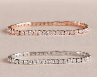 Crystal Bridal Bracelet, Crystal Tennis Bracelet, Rose Gold Stackable Bracelet, Bridesmaid Jewelry,  Brooklyn Crystal Bracelet