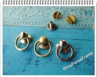 5set (or 3set) Beetle Dot Lock with ring for handmade purse bag box wallet closure (3color) (purse metal frame)