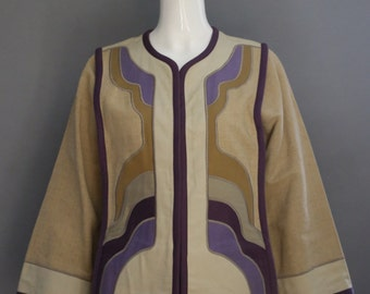 70s G GIRVIN cotton canvas applique art to wear tunic JACKET blazer coat top s/m vintage 1970s