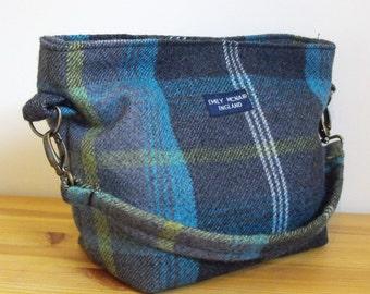 Tartan Tamsin Handbag in Grey, Turquoise and Yellow Shoulder Bag Ready to Ship
