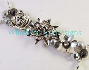 Silver Floral...Silver Flowers, Pearls and Czech Glass Interchangeable Beaded Watch Band, Petite