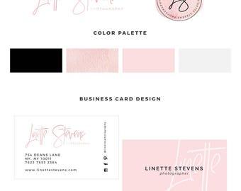 Photography logo, Watercolor logo, Blog logo kit, blog branding kit, Premade logo, Premade logos, Business logo, Calligraphy logo, pink logo