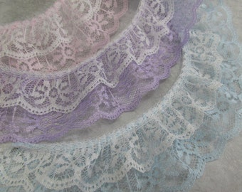 Double Layer Ruffled 2 Inch Polyester White Lace Trim in Lavender, Pale Pink, or Bably Blue and White by the yard