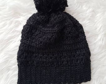 Sale - Adult Slouchy Pom Pom Toque - Dark heathered gray, black | CLEARANCE