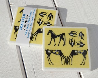Geometric Animals Marble Coaster or Magnet
