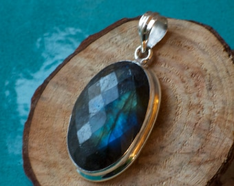 Faceted Labradorite Sterling Silver Pendant