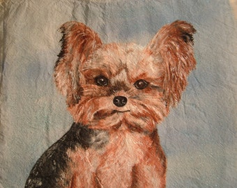 Pet dog portrait Yorkie custom painted