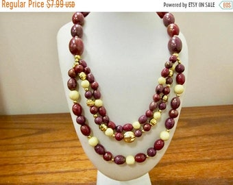 On Sale Vintage Cranberry, Plum and Off White Beaded Necklace Item K # 1353
