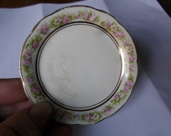 Vintage 1910s to 1940s Butter Pat Dish Pink and White Dishes Gold Trim Mercer Semi-Vitreous Tiny