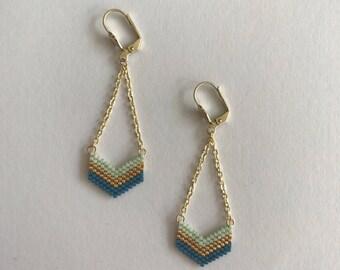 Chevron turquoise tone earrings